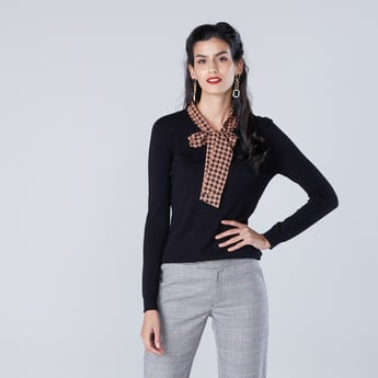 Solid Sweater with Contrast Printed Tie-Up Detail