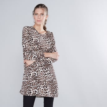 Animal Printed Longline Tunic with Round Neck and Long Sleeves