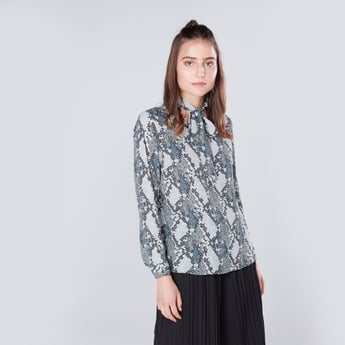 Printed Kitty Bow Top with Long Sleeves