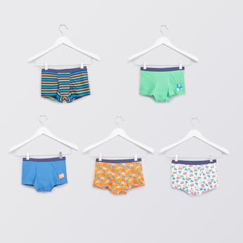 Set of 5 - Printed Trunks with Wide Elasticised Waistband