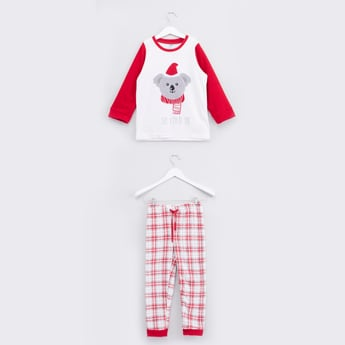 Embroidery Detail T-shirt and Chequered Jog Pants Set