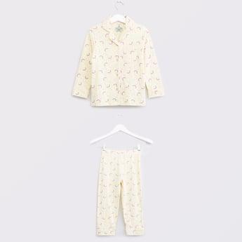 Printed Button-Down Shirt and Pyjama Set