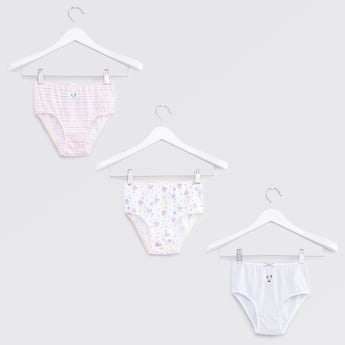 Set of 3 - Printed Briefs with Bow Applique Detail