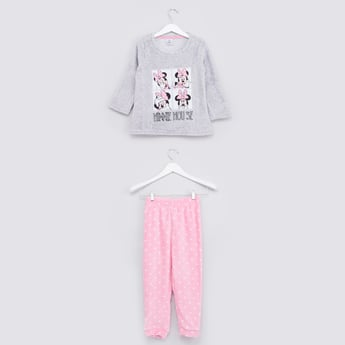 Minnie Mouse Printed Long Sleeves T-shirt with Full Length Jog Pants