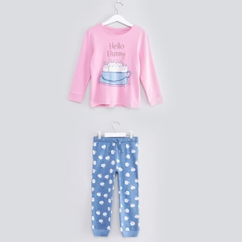 Printed Round Neck T-shirt and Jog Pants Set