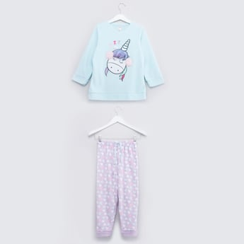 Round Neck T-shirt and Printed Jog Pants Set