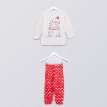 Printed Long Sleeves T-shirt and Full Length Jog Pants Set