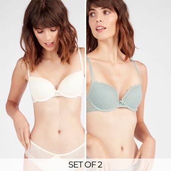 Set of 2 - Assorted Lace Demi Bra with Hook and Eye Closure