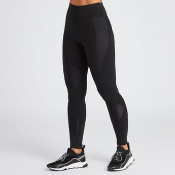 Slim Fit Solid Shiny Panelled Leggings with Elasticised Waist