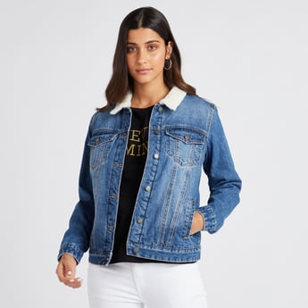 Denim Jacket with Faux Fur Collar