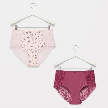 Set of 2 - Lace Detail Hipster Briefs with Elasticised Waistband