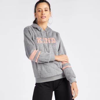 Plush Detail Hoodie with Long Sleeves and Kangaroo Pockets