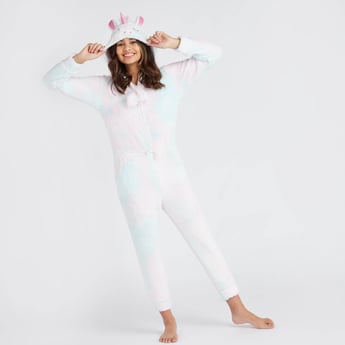 Plush Detail Unicorn Onesie with Hooded Neck and Long Sleeves