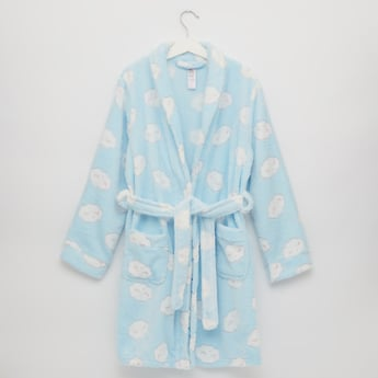 Printed Plush Collared Robe with Long Sleeves and Waist Tie Up