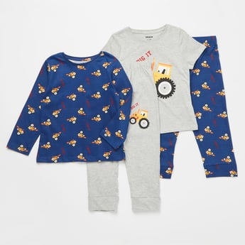 Set of 2 - Printed Round Neck T-shirt and Full Length Pyjamas