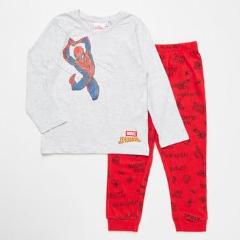 Spider-Man Print Round Neck T-shirt and Pyjama Set