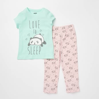 Panda Print Round Neck T-shirt and Pyjama Set