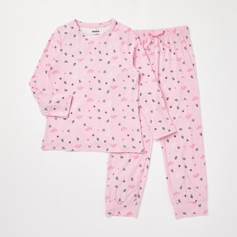 Princess Print T-shirt and Full Length Pyjama Set