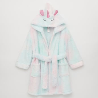 Textured Hooded Neck Unicorn Robe with Long Sleeves and Tie Up Detail