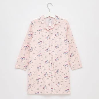 Printed Sleep Shirt with Collar and Long Sleeves