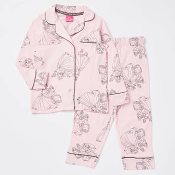 Princess Print Long Sleeves Shirt and Pyjama Set
