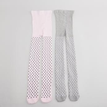 جوارب ضيقة  بطبعات قلب- طقم من زوجين