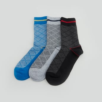 Set of 3 - Chequered Crew Length Socks