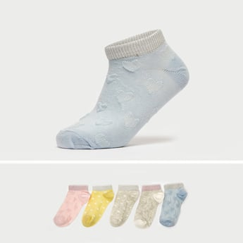 Pack of 5 - Textured Ankle-Length Socks with Cuffed Hem