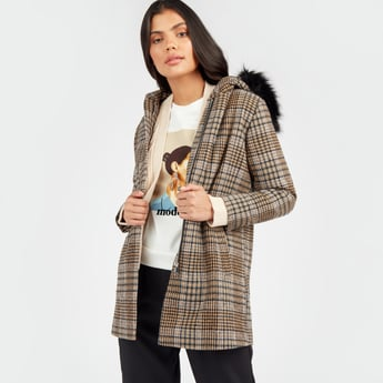 Checked Melton Jacket with Long Sleeves and Fur Lined Hood