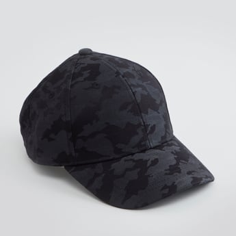 Camouflage Printed Cap with Snap Button Closure