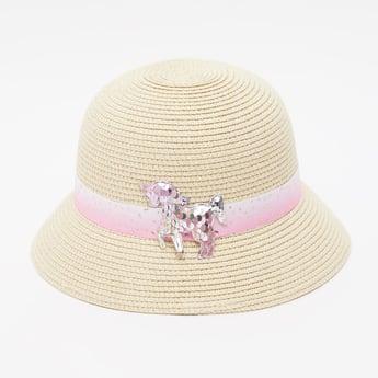 Textured Bucket Hat with Unicorn Applique Detail