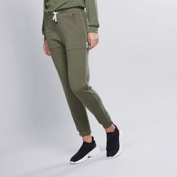 Plain Mid Waist Jog Pants with Elasticised Waistband