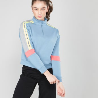 Colour Blocked Sweat Top with High Neck and Long Sleeves