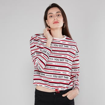 Printed Sweatshirt with Long Sleeves and Drawstring