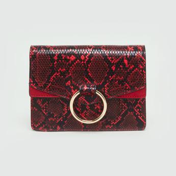 Textured Animal Print Crossbody Bag