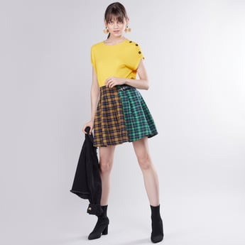 Chequered Mini A-line Skirt with Pin Buckle Detail