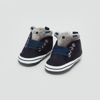 Textured High Top Booties with Animal Applique Detail