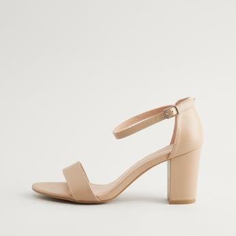 Solid Ankle Strap Block Heels