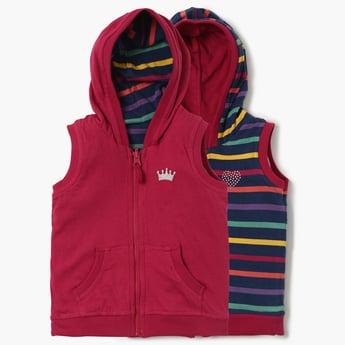MAX Printed Zip-Up Sleeveless Reversible Jacket