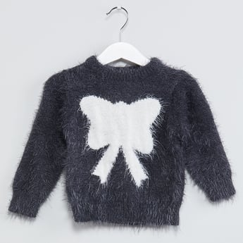 MAX Butterfly Print Faux-Fur Sweater