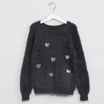 MAX Sequined Heart Fuzzy Sweater