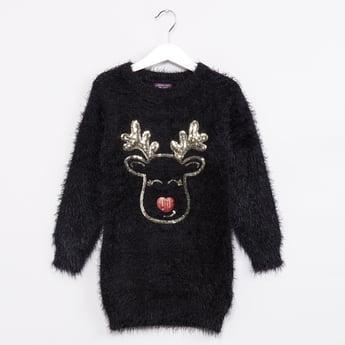 MAX Sequined Reindeer Fuzzy Sweater