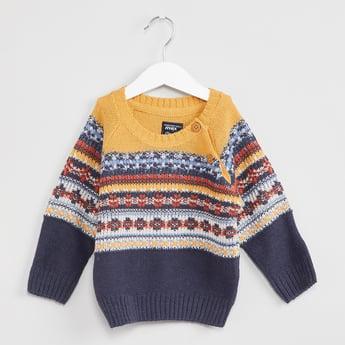 MAX Patterned Knit Raglan Sleeve Sweater