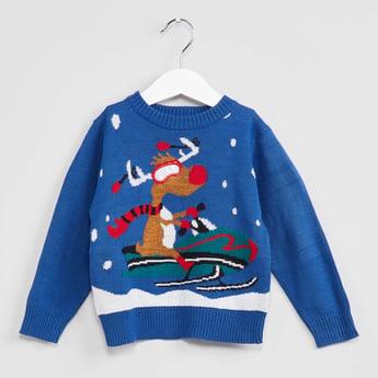 MAX Graphic Print Crew-Neck Sweater