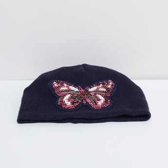 MAX Sequinned Patch Knitted Beanie