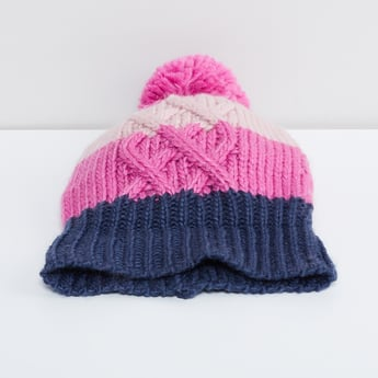 MAX Cable Knitted Pom-Pom Detail Beanie
