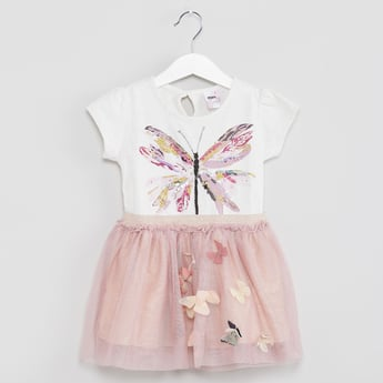 MAX Butterfly Applique Tulle Dress