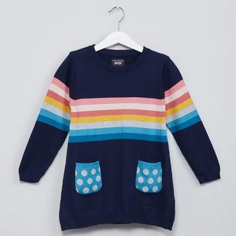 MAX Striped Polka Dot Print Patch Pocket Sweater