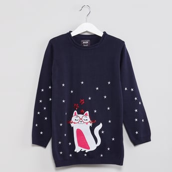 MAX Kitty Applique Long Sleeve Pullover