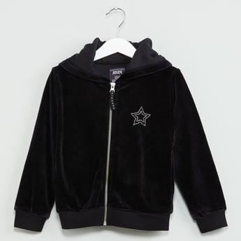 MAX Solid Velour Hooded Zip-Up Sweatshirt